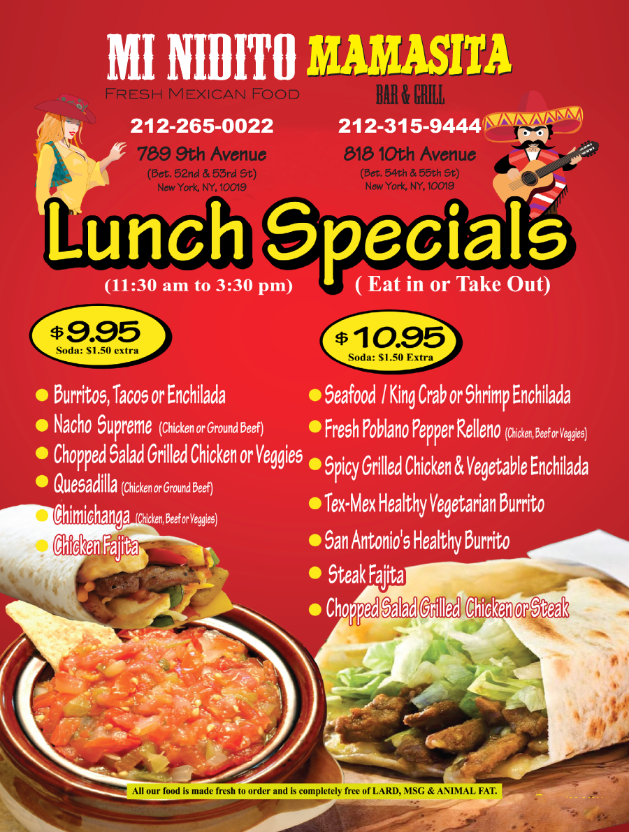 dinner specials ideas for restaurants ForLunch Specials